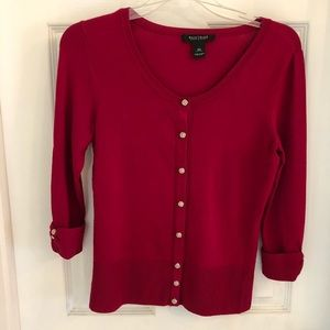 White House Black Market Red Cardigan